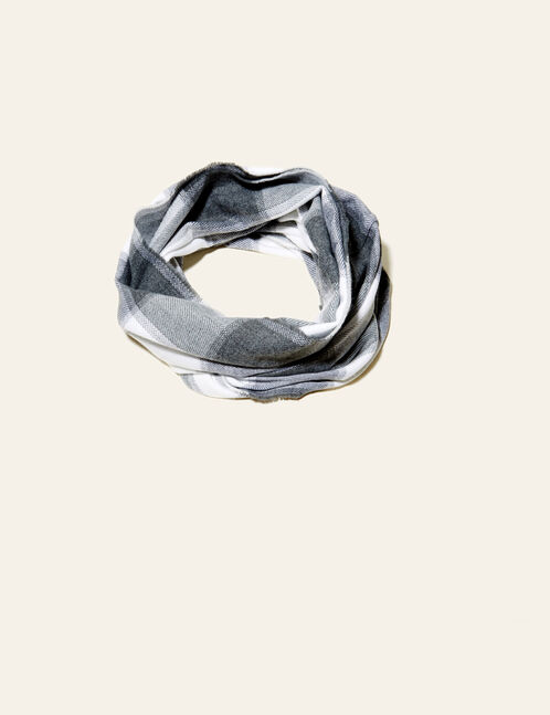 Grey and white checked snood