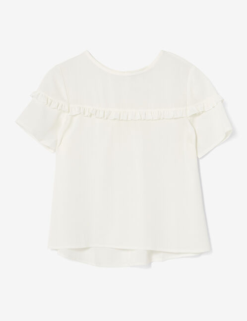 Cream blouse with small frill detail