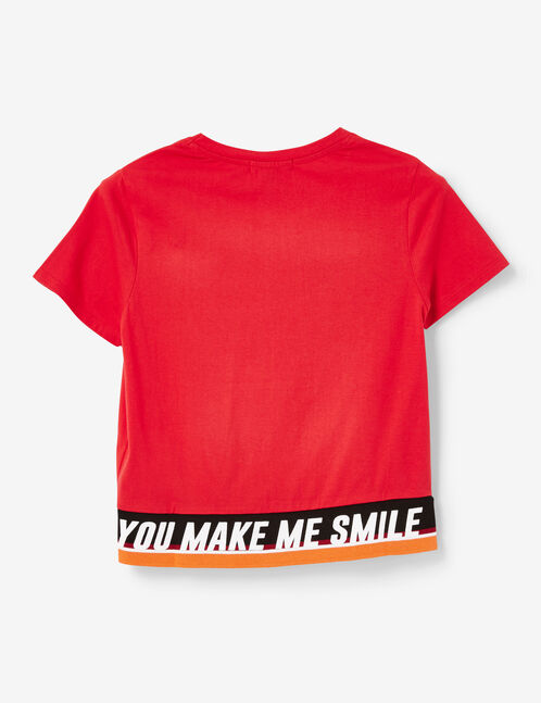Red T-shirt with text design detail