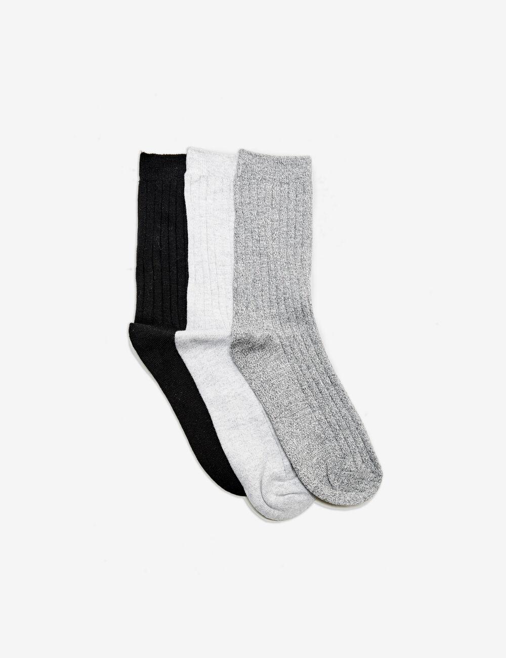 chaussettes mi hautes noires gris anthracite chin et. Black Bedroom Furniture Sets. Home Design Ideas