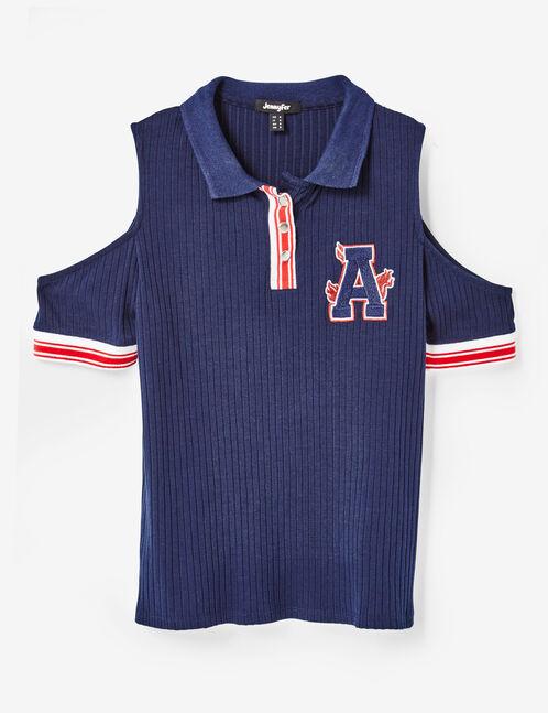tee-shirt esprit polo bleu marine