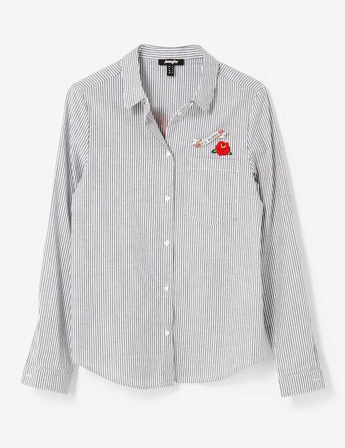 chemise rayée à message noire et blanche