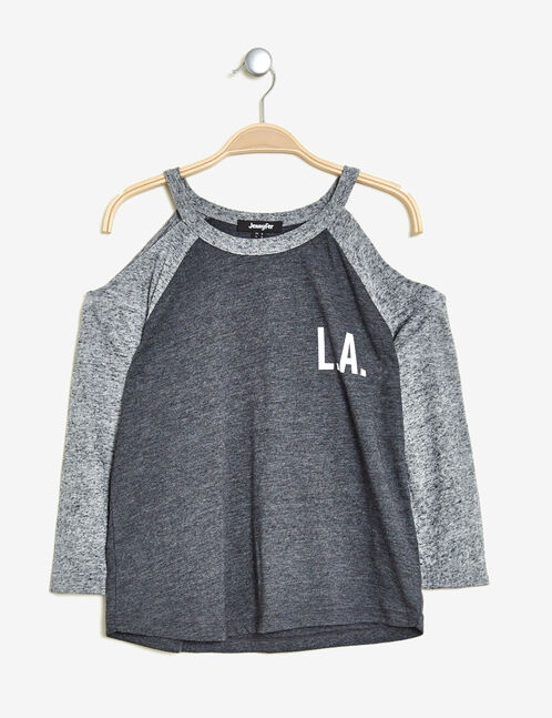 Charcoal grey marl T-shirt with cut-out shoulders