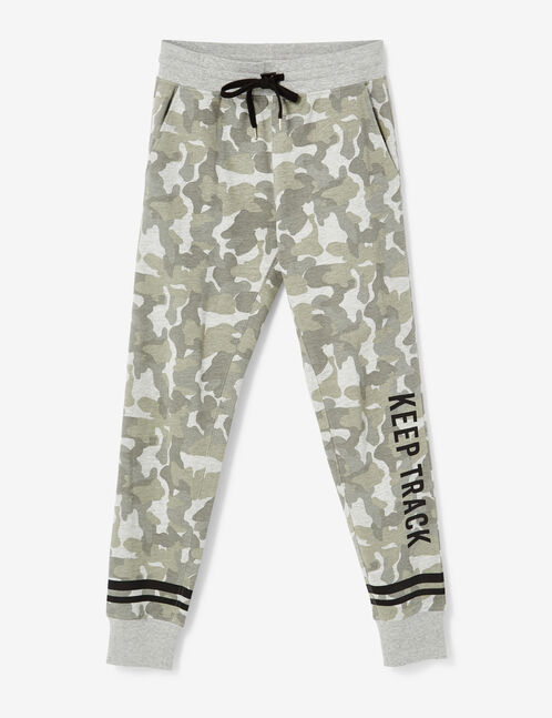 """Khaki and grey marl camouflage """"keep track"""" slim-fit joggers"""