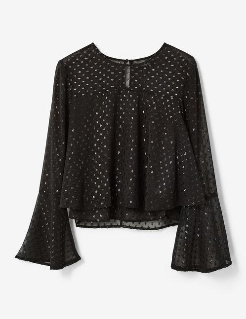 blouse à volants noire