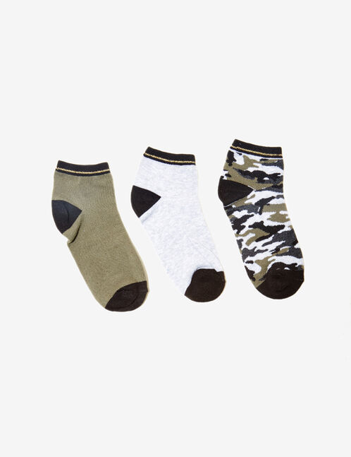 Khaki, black and grey marl camouflage pattern socks