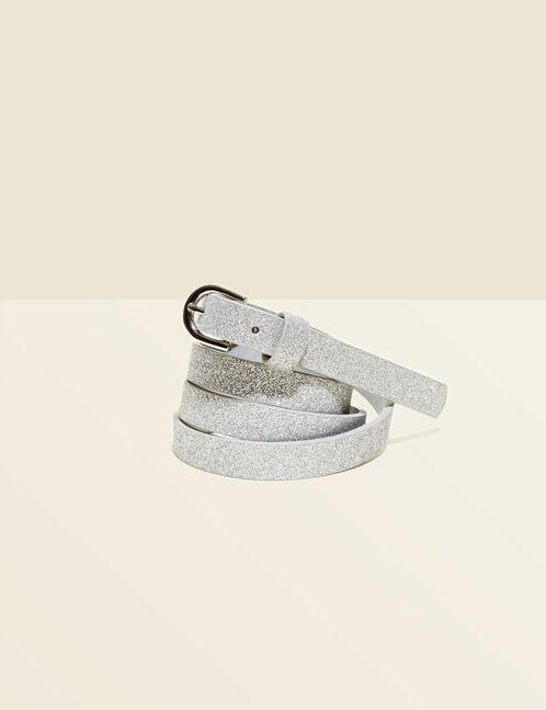 Silver sparkly skinny belt