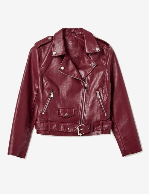 Burgundy biker jacket with belt
