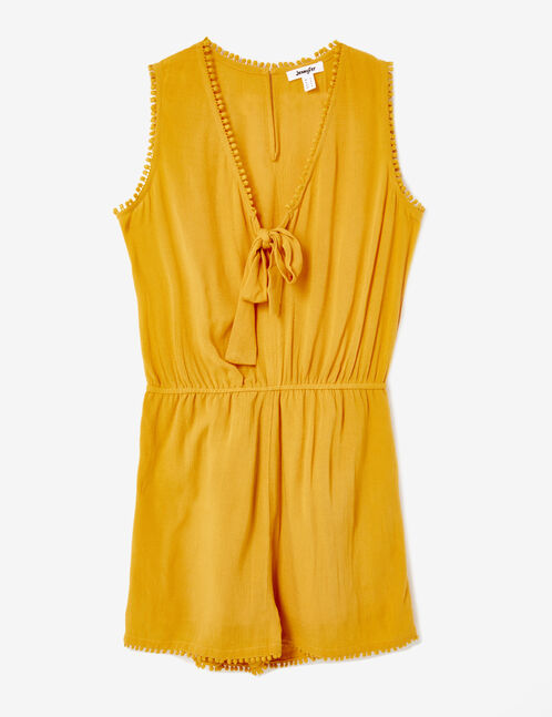Ochre playsuit with tie-fastening detail