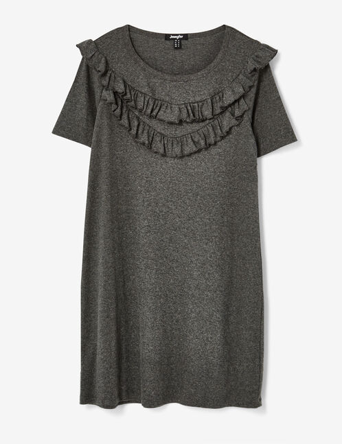 Charcoal grey marl dress with frill detail
