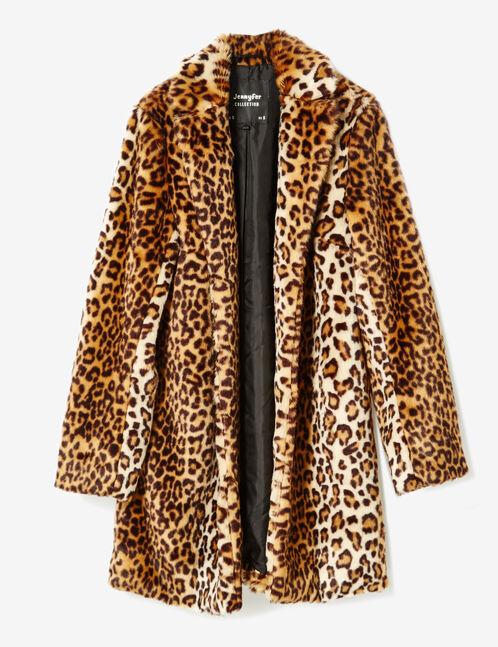 Beige and brown faux fur coat