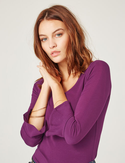 Purple top with pagoda sleeves