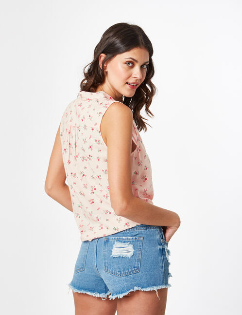 Light pink tie-fastening floral blouse