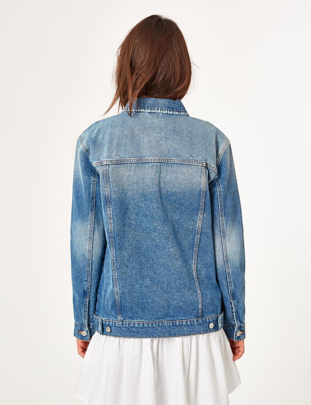 Veste en jean femme avec dentelle