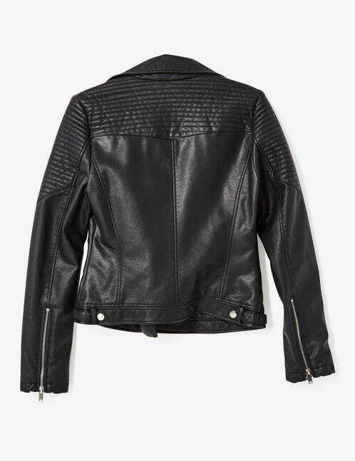 Black biker jacket with pin detail