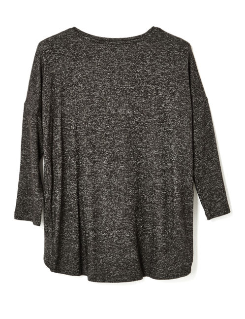Charcoal grey marl crossover-effect top