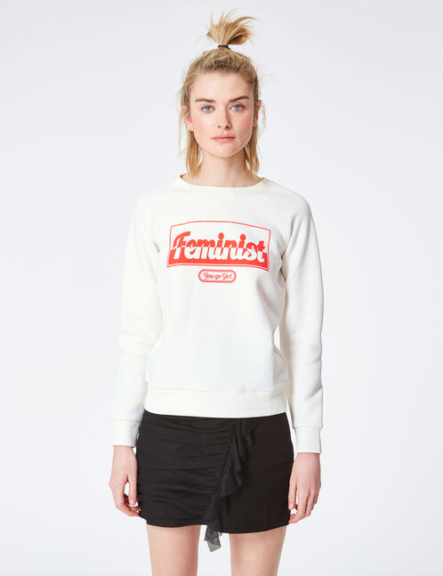 "Cream ""feminist"" sweatshirt"