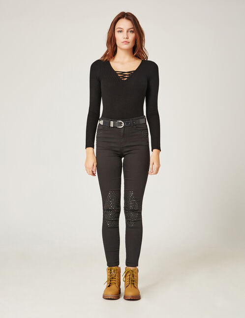 Black trousers with stud detail