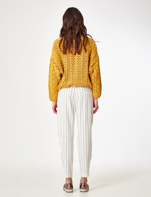 Cream and black striped tailored trousers