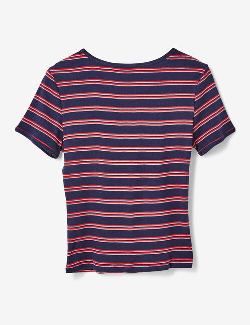 tee-shirt rayé bleu marine
