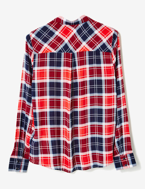 Navy blue, red and cream checked shirt