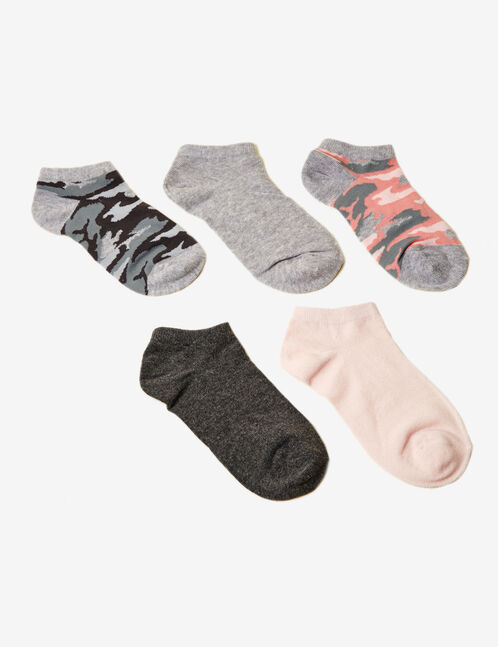 Grey and pink camouflage socks