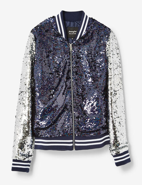Silver and navy blue sequined bomber jacket