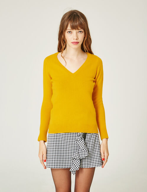 pull toucher cachemire ocre