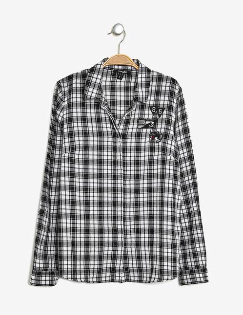 chemise à patchs noire et blanche