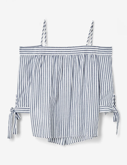 blouse épaules dénudées norie et écrue