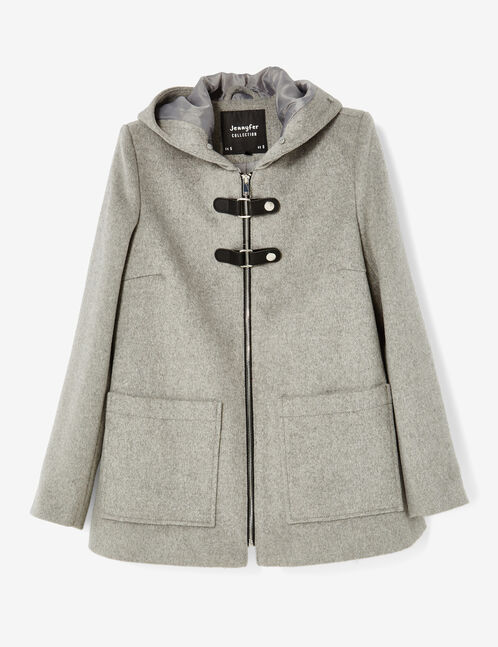 Grey marl coat with strap detail