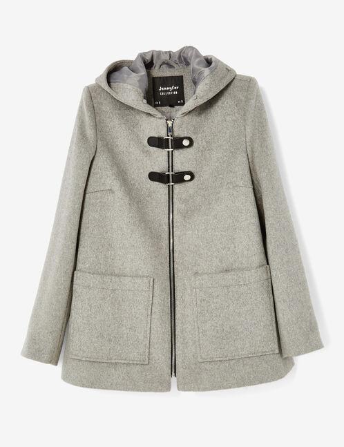 manteau avec brides gris chiné