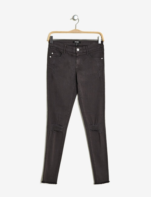pantalon skinny destroy gris anthracite