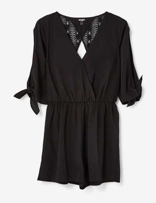 Black playsuit with lace detail