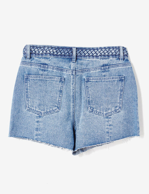 Medium blue denim shorts with braided detail
