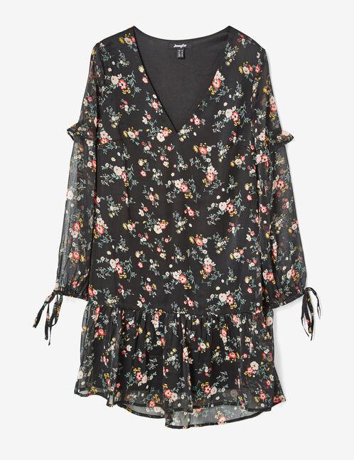 robe en mousseline fleurie noire