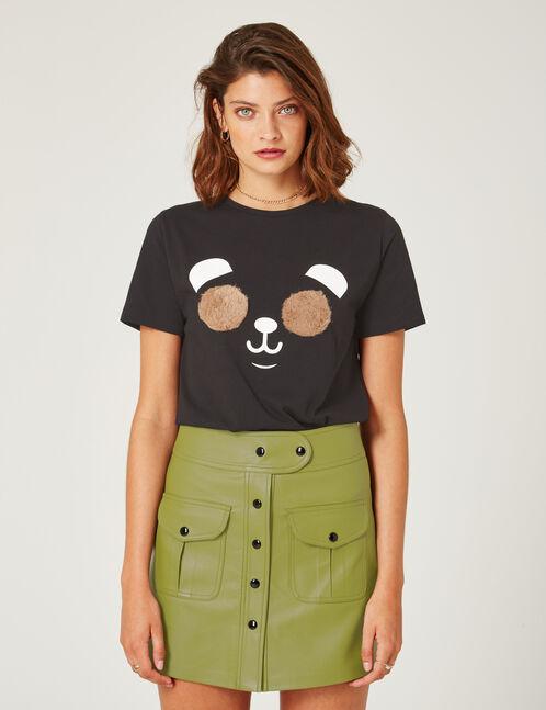 Khaki buttoned A-line skirt