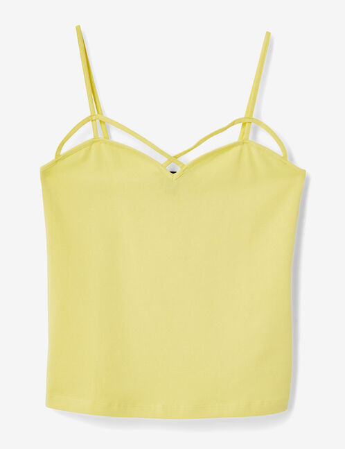 Light yellow tank top with strap detail
