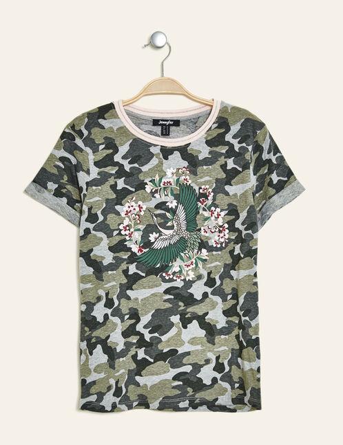 tee-shirt camouflage imprimé kaki