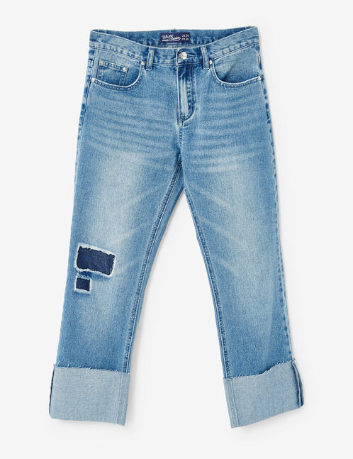 jean straight avec revers medium blue