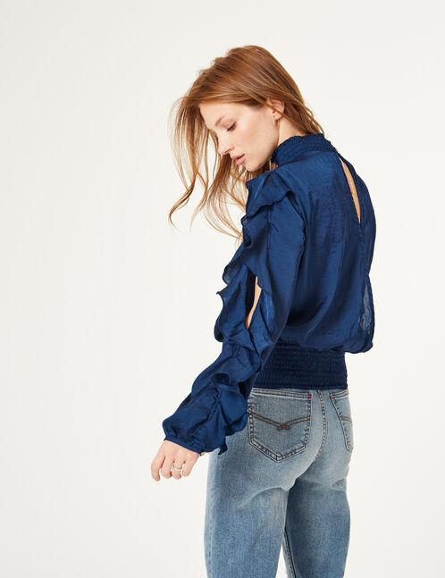 Dark blue frilled blouse