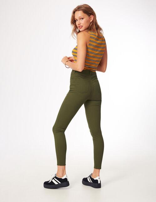 pantalon skinny taille haute kaki