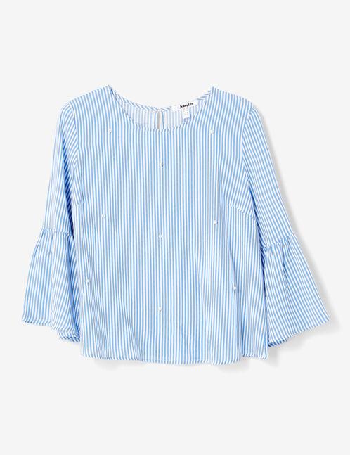 blouse rayée avec perles bleue et blanche