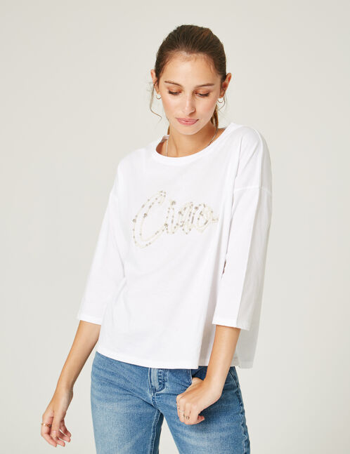 White T-shirt with beaded text design