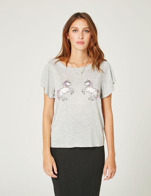 Grey marl unicorn T-shirt