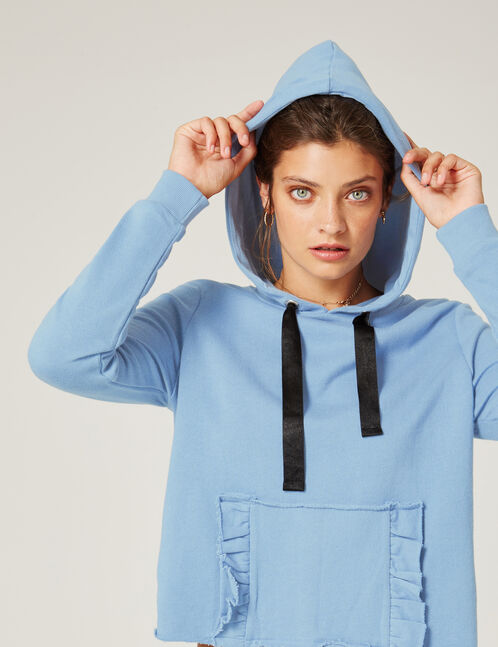 Blue hoodie with frilled pocket