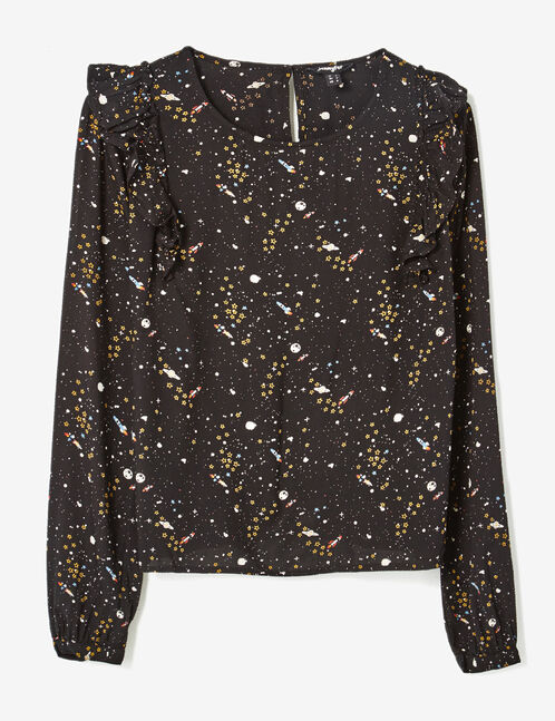 Black mixed print blouse