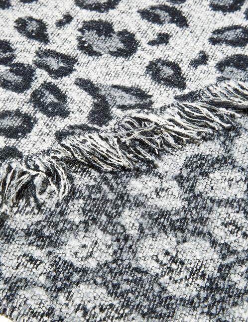 Grey and black asymmetric scarf