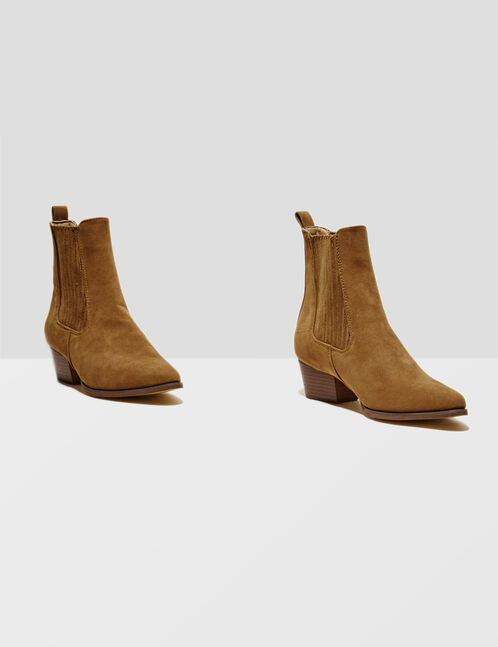 Camel faux suede ankle boots