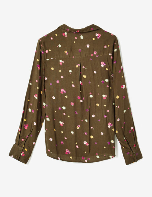 Khaki floral print blouse